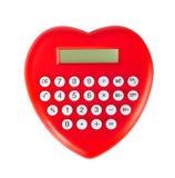 Röd hjärta formad räknemaskin royaltyfria foton