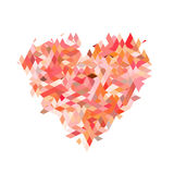 Röd hjärta från fractalpartikel på vita bakgrunder Arkivbilder