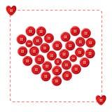 Röd hjärta från knappar stock illustrationer