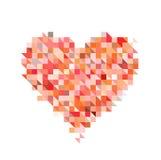 Röd hjärta från PIXELpartikel på vita bakgrunder Arkivfoton