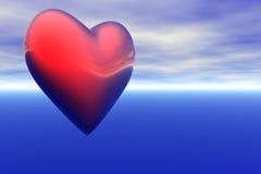 Röd hjärta framme av horisonten för blå himmel Royaltyfri Bild