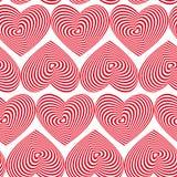 Röd hjärta gjorde randig den sömlösa modellen på vit bakgrund Arkivbilder