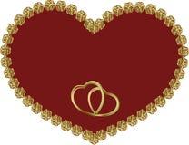 Röd hjärta i en guld- ram Royaltyfri Fotografi