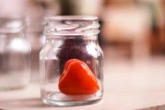 Röd hjärta i flaskan som tar omsorg arkivbild