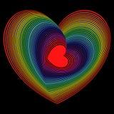 Röd hjärta in i lotten av spektrumfärghjärta formar Royaltyfria Bilder