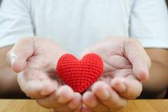 Röd hjärta i manhänder Royaltyfri Bild