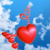 Röd hjärta i skyen royaltyfri illustrationer
