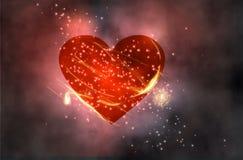 Röd hjärta i utrymme Arkivfoton
