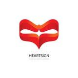 Röd hjärta - idérik illustration för vektorlogomall Tecken för begrepp för dag för valentin` s Abstrakt geometriskt symbol Format Arkivbilder