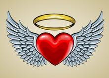 Röd hjärta med ängelvingar och gloria Arkivbild