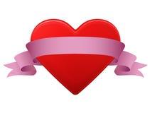 Röd hjärta med bandet Royaltyfria Foton