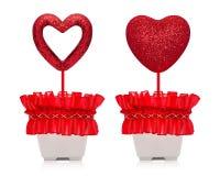 Röd hjärta med blänker textur i krukor som isoleras på vit bakgrund valentingåva royaltyfria foton