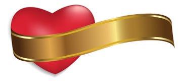 Röd hjärta med det guld- bandet som isoleras på vit bakgrund Garnering för dag och annan för valentin` s semestrar vektor royaltyfri illustrationer