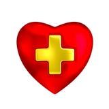 Röd hjärta med det medicinska guldkorset Arkivfoton