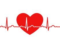 Röd hjärta med ekg på vit - medicinsk design Arkivbild