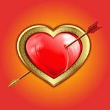 Röd hjärta med en guld- gräns stansas med en pil royaltyfri illustrationer