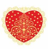 Röd hjärta med ett dekorativt mönstrar. Fotografering för Bildbyråer