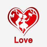 Röd hjärta med förälskade par Arkivfoton