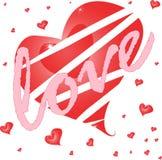 Röd hjärta med förälskelse. valentinkort Fotografering för Bildbyråer