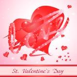 Röd hjärta med förälskelse. valentinkort Royaltyfri Foto