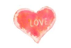 Röd hjärta med förälskelseord Arkivbilder