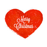 Röd hjärta med glad jul för snö och för inskrift royaltyfri illustrationer