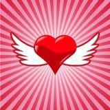 Röd hjärta med påskyndar Royaltyfri Bild