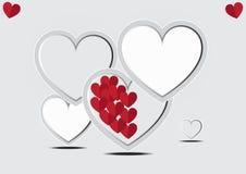 Röd hjärta med ramen Fotografering för Bildbyråer