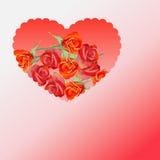 Röd hjärta med ro Arkivfoton
