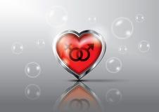 Röd hjärta med symbolen könsbestämmer Arkivfoton