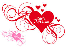 Röd hjärta med virvlar, kort för moderdag royaltyfri illustrationer
