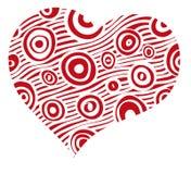 Röd hjärta med vita remsor Royaltyfri Fotografi