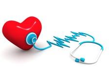 Röd hjärta och ett stetoskop Fotografering för Bildbyråer