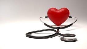 Röd hjärta och ett stetoskop Blodtryckkontroll Arkivfoto
