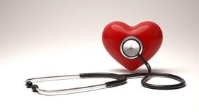 Röd hjärta och ett stetoskop Blodtryckkontroll Arkivbilder