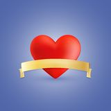 Röd hjärta och guld- band Arkivbilder