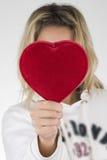 Röd hjärta och kvinna royaltyfria bilder
