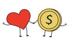 Röd hjärta och mynt Arkivbild