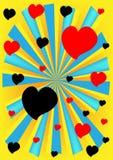 Röd hjärta och svartbakgrund. royaltyfri illustrationer