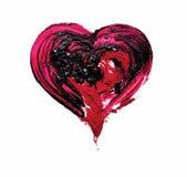 Röd hjärta Olje- och röd pigment vektor Pait Arkivbilder