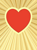 Röd hjärta på bakgrund av guld- strålar Arkivbild