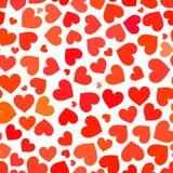 Röd hjärta på en sömlös modell för vit bakgrund vektor illustrationer
