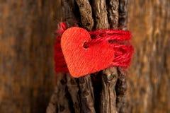 Röd hjärta på slåget in ris Arkivbilder