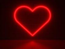 Röd hjärta - serieneontecken Royaltyfria Foton