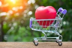 Röd hjärta Shape på Mini Shopping Cart Royaltyfria Bilder