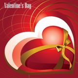 Röd hjärta som binds med ett guld- band med en pilbåge vektor stock illustrationer