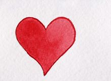 Röd hjärta som göras från vattenfärg på en vit bakgrund Royaltyfri Foto