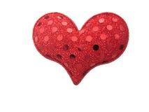 Röd hjärta som isoleras på white Royaltyfria Foton