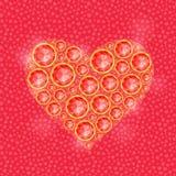 Röd hjärta som komponeras av Diamond Gem Stones Fotografering för Bildbyråer