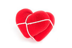 Röd hjärta som tillsammans binds Arkivbilder